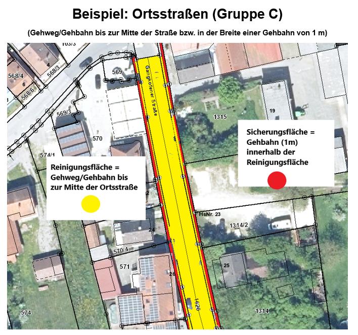 Reinigungs- und Sicherungsverordnung, Beispiel Ortsstraße