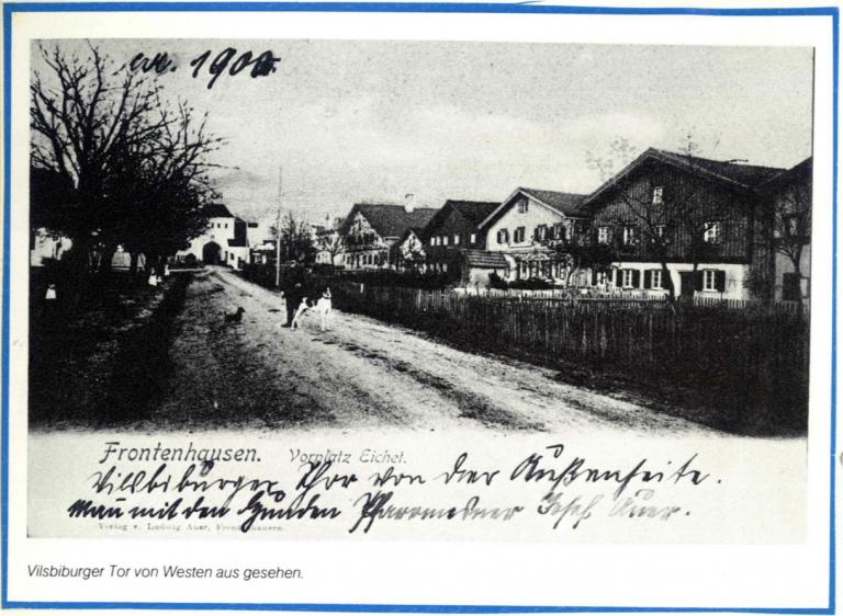 Grossansicht in neuem Fenster: Bild Vilsbiburger Tor von Westen im Jahr 1900